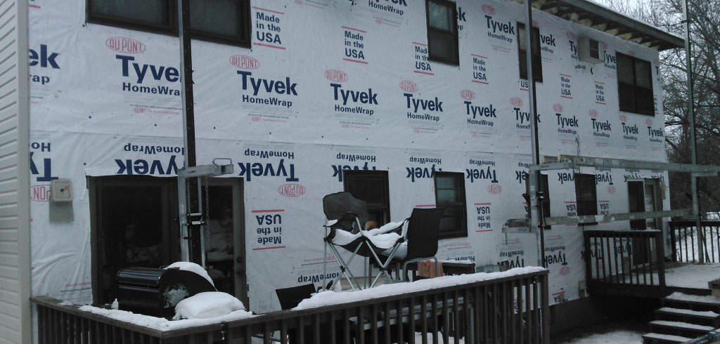 Hudson Townhome Winter Vinyl Siding Install
