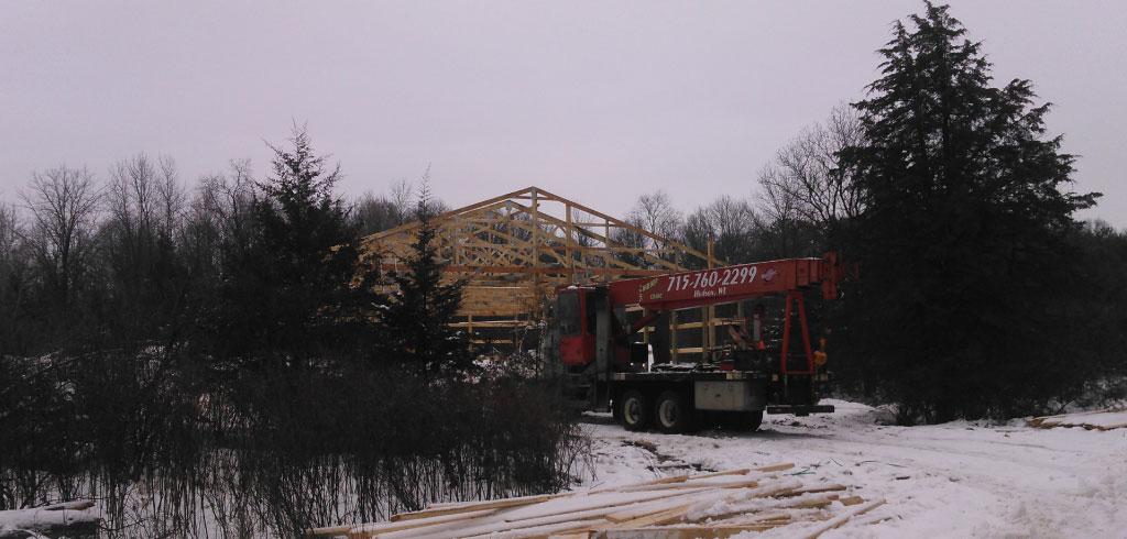 Hudson WI Pole Barn Crane